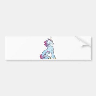 unicornio que se sienta etiqueta de parachoque