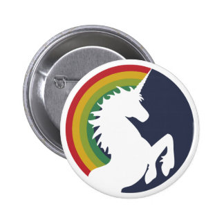 unicornio retro de los años 80 y botón del arco ir