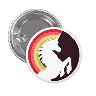unicornio retro de los años 80 y botón del arco ir pin