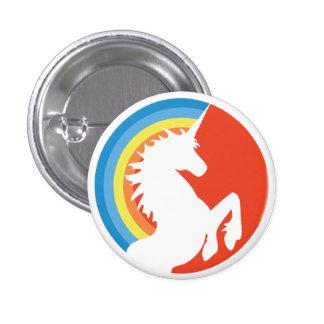 unicornio retro de los años 80 y botón del arco ir pins