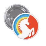 unicornio retro de los años 80 y botón del arco pin redondo de 1 pulgada