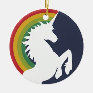 unicornio retro de los años 80 y ornamento del adorno navideño redondo de cerámica