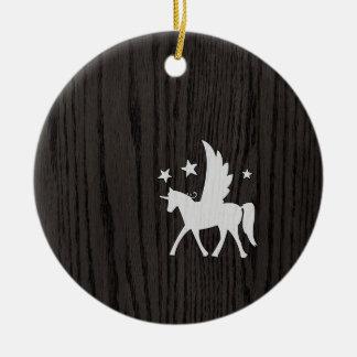 Unicornio retro del inconformista en viruta ornamentos para reyes magos