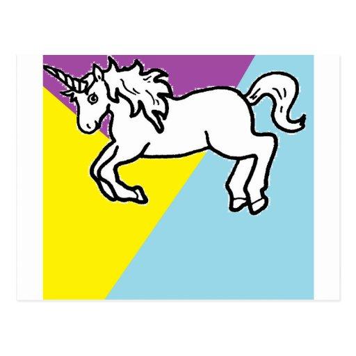 Unicornio retro tarjeta postal