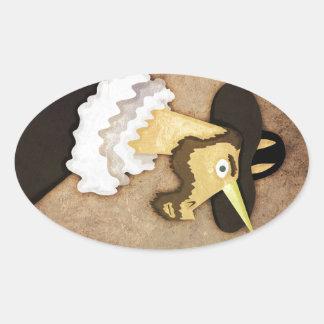 Unicornio rizado pegatina ovalada