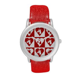Unicornio rojo del corazón relojes de mano