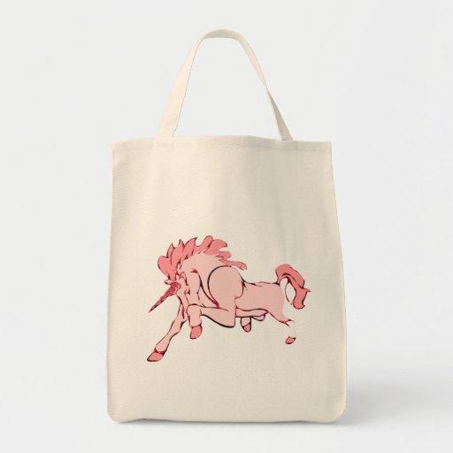 Unicornio rosado bolsa lienzo