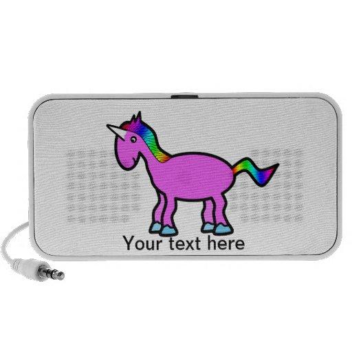 Unicornio rosado con la melena del arco iris mp3 altavoces