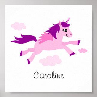 Unicornio rosado con las alas, arte de la pared pa póster
