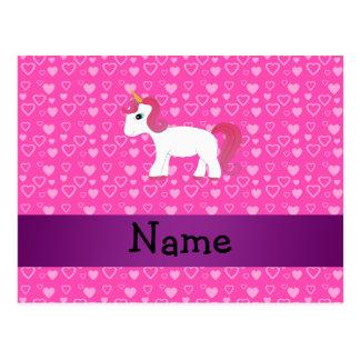 Unicornio rosado conocido personalizado del pelo tarjeta postal