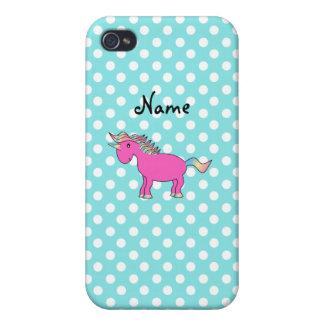Unicornio rosado conocido personalizado iPhone 4 carcasa
