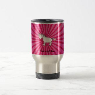 Unicornio rosado del arco iris del resplandor taza de viaje