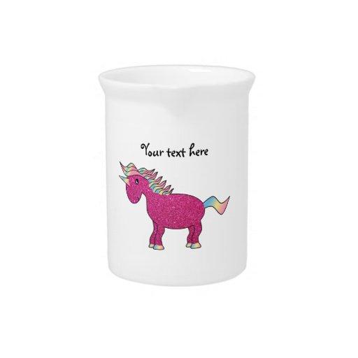 Unicornio rosado del brillo jarra para bebida
