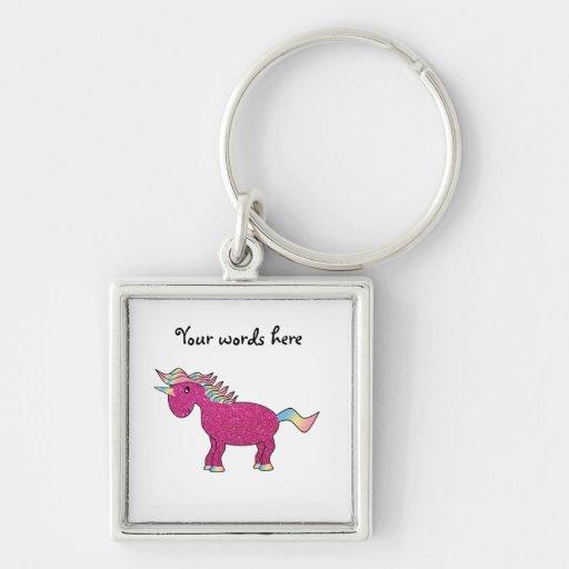 Unicornio rosado del brillo llavero cuadrado plateado