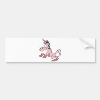 unicornio rosado del dibujo animado etiqueta de parachoque