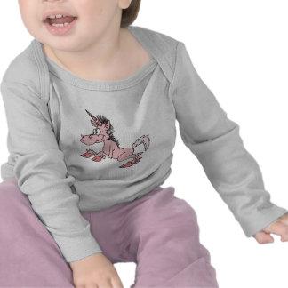 unicornio rosado del dibujo animado camiseta