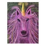 Unicornio rosado enrrollado postales
