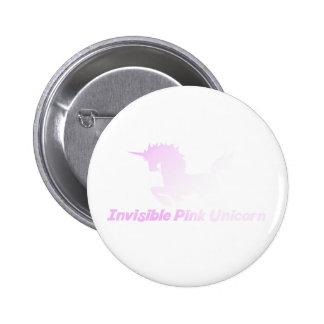 Unicornio rosado invisible en el cielo pin redondo de 2 pulgadas