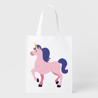Unicornio rosado lindo bolsas para la compra