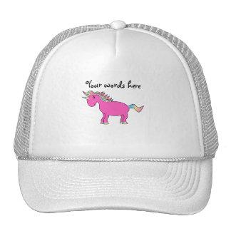 Unicornio rosado lindo gorras
