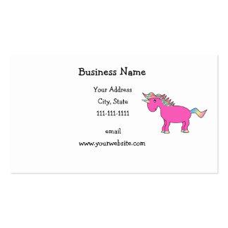 Unicornio rosado lindo tarjeta de visita