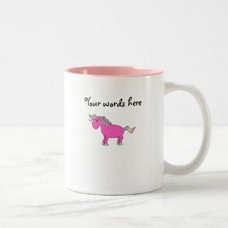 Unicornio rosado lindo taza dos tonos