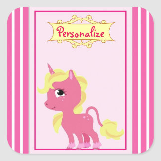 """Unicornio rosado "" Pegatina Cuadrada"