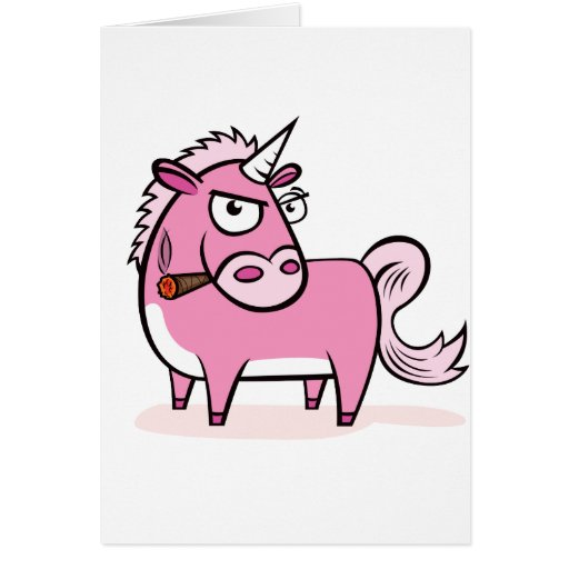 Unicornio rosado que fuma tarjeta de felicitación