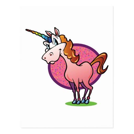 Unicornio rosado tarjeta postal