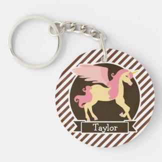 Unicornio rosado y amarillo de la fantasía; Rayas Llavero