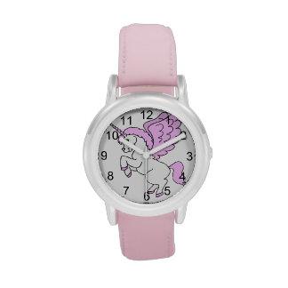 Unicornio rosado y blanco relojes de pulsera