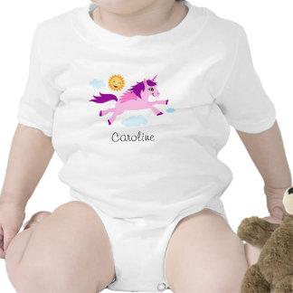 Unicornio rosado y nombre personalizado sol feliz traje de bebé