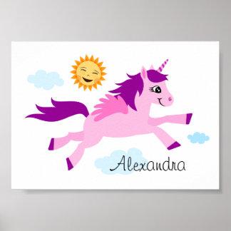 Unicornio rosado y sol feliz, arte de la pared póster