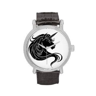 Unicornio tribal negro reloj