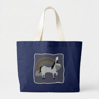 Unicornio triste divertido de Emo solamente Bolsa De Tela Grande