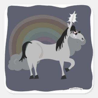 Unicornio triste divertido de Emo solamente Pegatina Cuadrada
