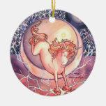 Unicornio, universo adorno navideño redondo de cerámica