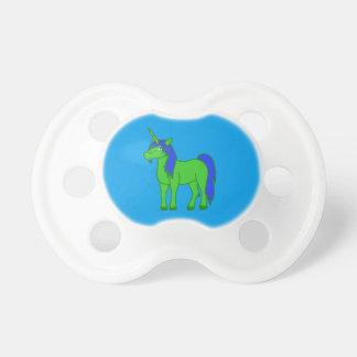 Unicornio verde con la melena azul chupetes para bebes
