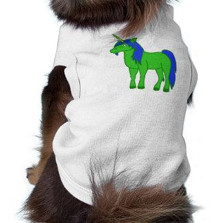 Unicornio verde con la melena azul playera sin mangas para perro