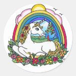 Unicornio y arco iris etiqueta