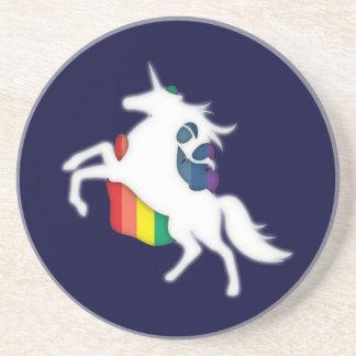Unicornio y arco iris posavasos de arenisca