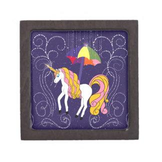 Unicornio y arte caprichoso del dibujo animado del caja de joyas de calidad