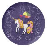 Unicornio y arte caprichoso del dibujo animado del plato para fiesta