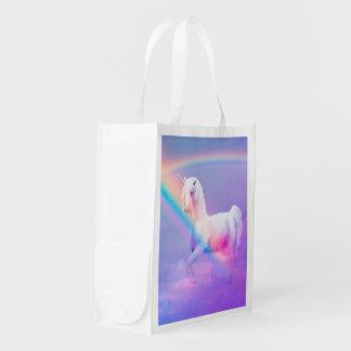 Unicornio y bolso reutilizable del arco iris bolsas de la compra
