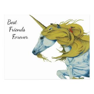 Unicornio y de las hadas de los mejores amigos postal