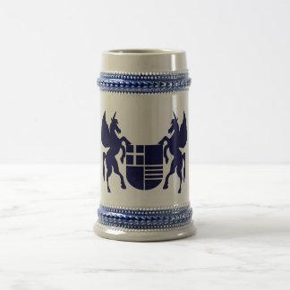 Unicornio y escudo jarra de cerveza