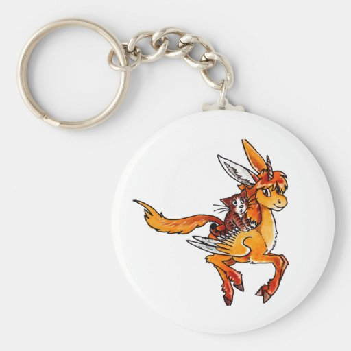 Unicornio y gato llavero redondo tipo pin