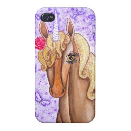 """Unicornio y libélulas "" iPhone 4/4S Funda"