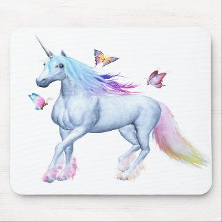 Unicornio y mariposas del arco iris tapetes de raton