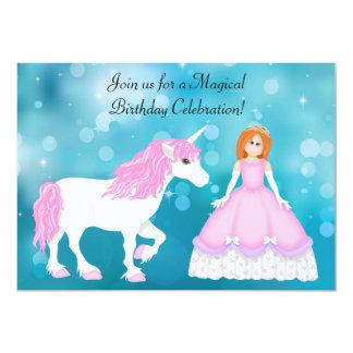 """Unicornio y princesa con cumpleaños rojo del pelo invitación 5"""" x 7"""""""
